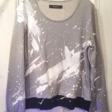 50%OFF!!! 【GUSUCUMA limited】SHIROMA 15S/S PRIMITIVE ACTION white paint big sweat shirt