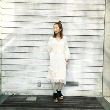 30%OFF!!! KAAI intarsia fringe tunic -white-