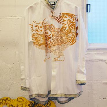 adim×GUSUCUMA stand collar dress shirt