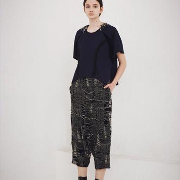 50%OFF!!!SHIROMA 15-16A/W ghost jacquard sarrouel pants -black-