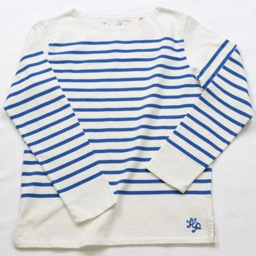 テンジクヤ パネルボーダー Tシャツ オフホワイト X ブルー