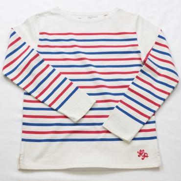 テンジクヤ パネルボーダー Tシャツ オフホワイト X レッド X ブルー