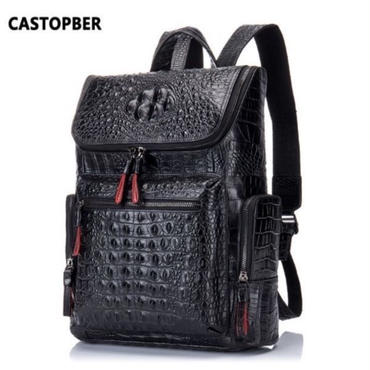 本革 ブラック メンズ バックパック クロコダイルorソリッドレザー 学生 旅行バッグ 高品質 ハイブラ