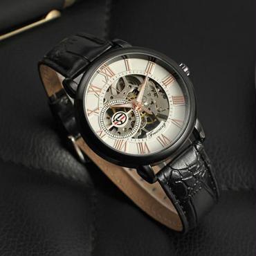 Forsining 自動巻 機械式腕時計 トゥールビヨン ステンレス スケルトン 革バンド(ブラックホワイト)