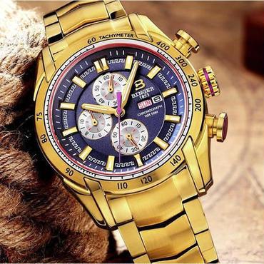 【送料無料】BINGER メンズ 腕時計 クロノグラフ 革 高級 デザイン 海外 人気 (04) 残り1点