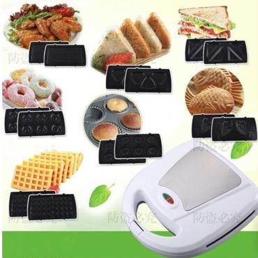 110ボルト多機能電気ワッフル機 家庭用ドーナツサンドイッチワッフルメーカー 7プレート朝食メーカー