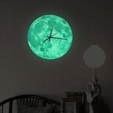 ロマンチック な発光 月型壁時計 掛け時計 家の装飾 寝室用