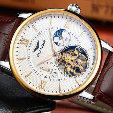 【送料無料!】Guanqin トゥールビヨン腕時計 スケルトン サファイア クリスタル GOLD&BROWN【新品】