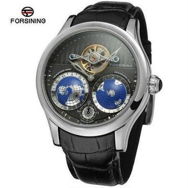 【送料無料!】Forsining メンズ高級腕時計 自動巻 機械式 レザー 地球 S1 革バンド シルバーベゼル×ブラックダイアル【新品】