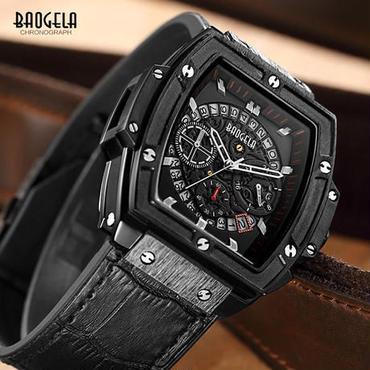 Baogela クロノグラフ 腕時計 ドレスウォッチ(ブラック)