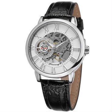 Forsining 自動巻 機械式腕時計 トゥールビヨン ステンレス スケルトン 革バンド(ホワイト)