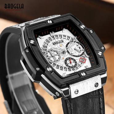 【送料無料】Baogela クロノグラフ 腕時計 ドレスウォッチ(ホワイト) 残り1点