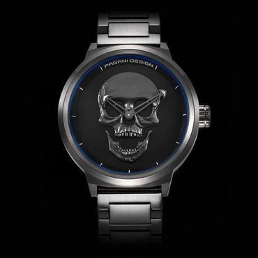 【送料無料!】海外ブランド 高級 クォーツ腕時計 人気のスカル メンズ 防水 メタルバンド 3色展開【新品】