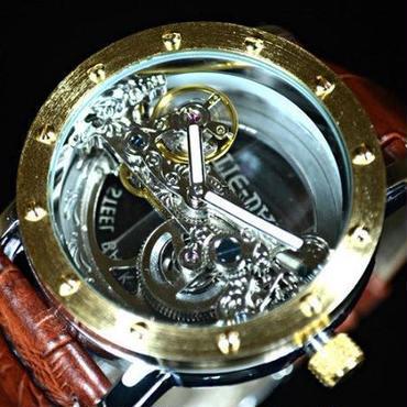 【送料無料!】TIEDAN メンズ 機械式上時計 自動巻 スケルトン トゥールビヨン ゴールド ブラウン革バンド【新品】