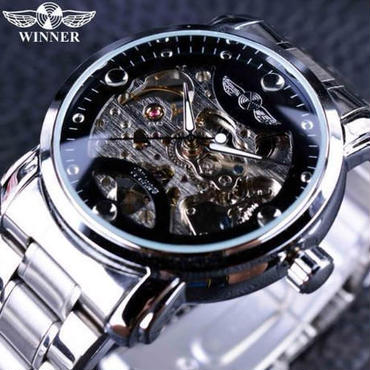 【送料無料】T-WINNER レトロカジュアル スケルトン メンズ腕時計 海外トップブランド 高級機械式時計(ブラックシルバー)