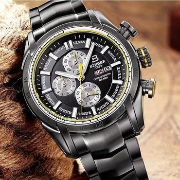 BINGER メンズ 腕時計 クロノグラフ 革 高級 デザイン 海外 人気 (01) 残り1点