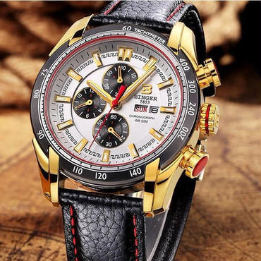 BINGER メンズ 腕時計 クロノグラフ 革 高級 デザイン 海外 人気 (06)