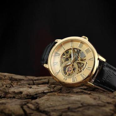 Forsining 自動巻 機械式腕時計 トゥールビヨン ステンレス スケルトン 革バンド(ゴールド)