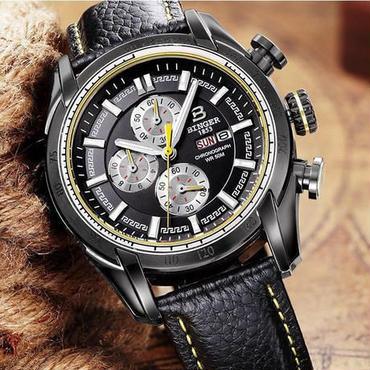 【送料無料】BINGER メンズ 腕時計 クロノグラフ 革 高級 デザイン 海外 人気 (05) 残り1点