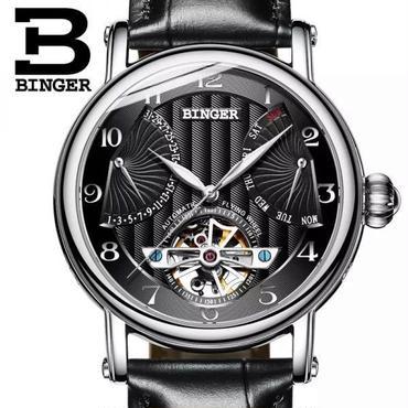 BINGER 高級 トゥールビヨン ハック機能 カレンダー 防水 機械式自動巻き ダイヤル42mm バンド 22mm 腕時計