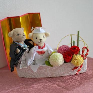 プリザーブドフラワーの和装ウェルカムベア/ケース入り/結婚式やご結婚祝いに/ウェディング