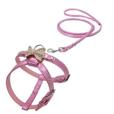 犬用猫用かわいいキラキラピンクのハーネス 全国送料無料