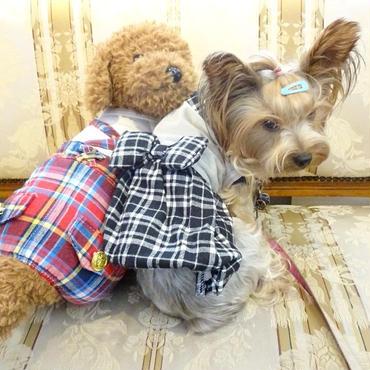 idogチェックバルーンワンピ 小型犬 送料無料