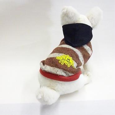 犬服 重ね着風ボーダーニットパーカー アイドッグ 小型犬