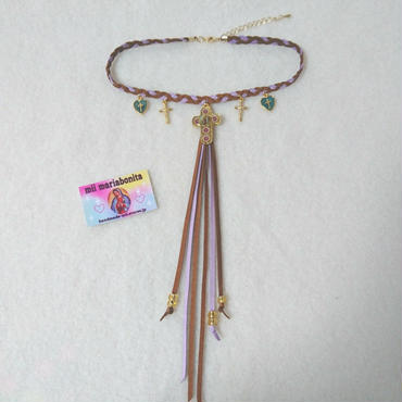 my lovely tail Choker☆brown×lavender