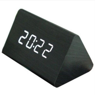 木目調 多機能 LED デジタル時計 ブラック 置き時計 おしゃれ