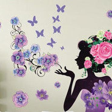 花 と 蝶 ウォールステッカー 3D 模様替え かわいい インテリア