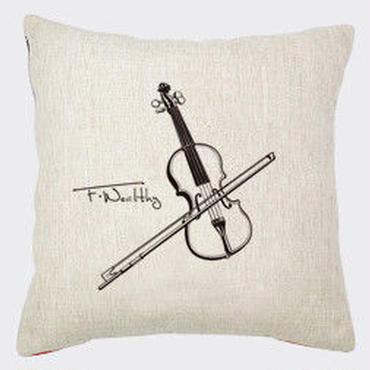クッションカバー レトロ おしゃれ 楽器 バイオリン