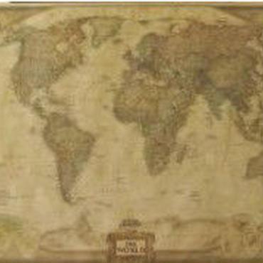 ビンテージ風 オシャレ レトロ ポスター 世界地図