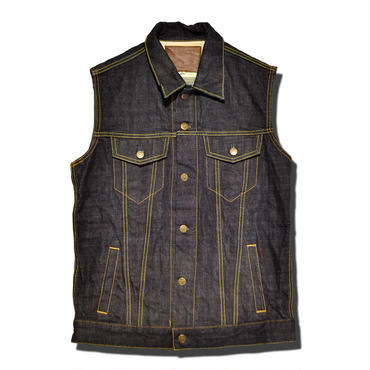 KUSTOMS DENIM VEST ONE WASH
