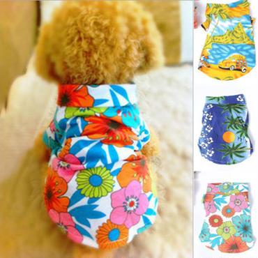 【犬服】フラワー柄の犬のアロハシャツ