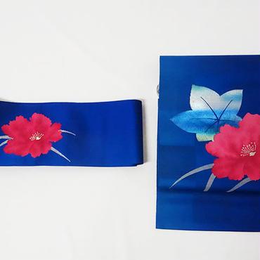市松模様地に赤い花の名古屋帯の二部式帯