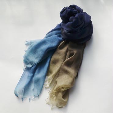 ぼかし染シルクウール・ガーゼストール 藍 L(幅95㎝)