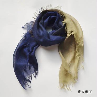 ぼかし染シルクウール・ガーゼ Mini 藍×鶸茶(あい・ひわちゃ)