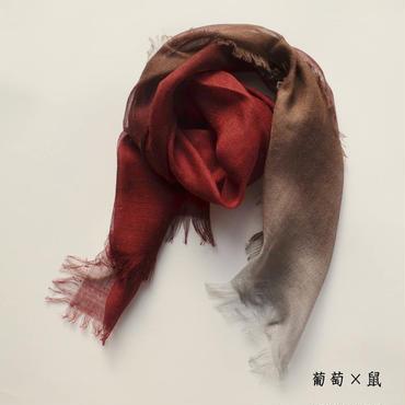ぼかし染シルクウール・ガーゼ Mini 葡萄×鼠(えび・ねず)