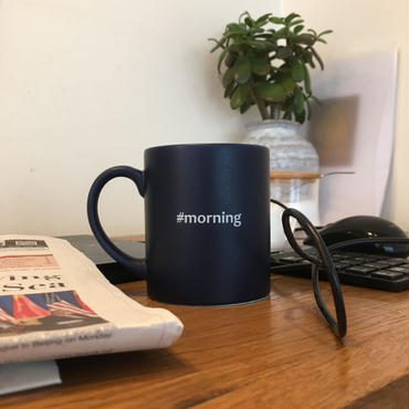 "Hashtag Mug/Navy ""morning"""