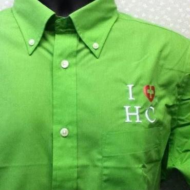 ハートクロス半袖シャツ・オリジナルブランド・緑色