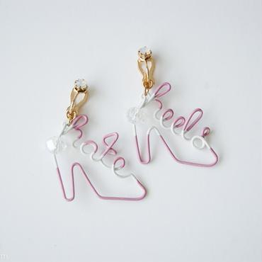 Arty Wire Pierced Earrings  - hate heels  EARRING / MAUVE ROSE -G