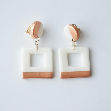 Lack of Geometry Earrings Copper - Square+Circle