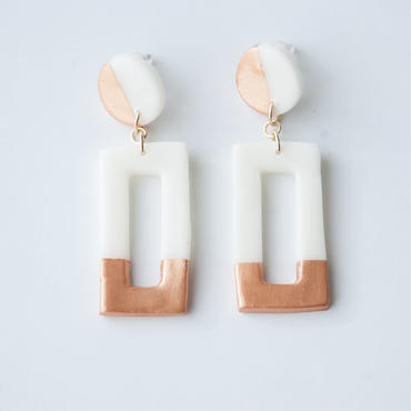 Lack of Geometry Earrings Copper - Rectangle+Circle