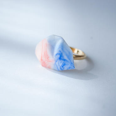SALE | Marble Stone Ring  S BLUE+ORANGE