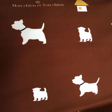 ウェスティ・シルエット生地 ブラウン 54cm巾×50cm