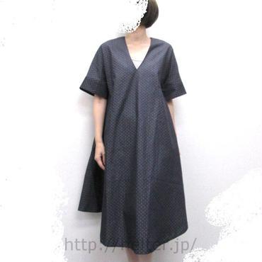 Aラインワンピ/10cm長(デニム小水玉)AOPlong-066  c/#210