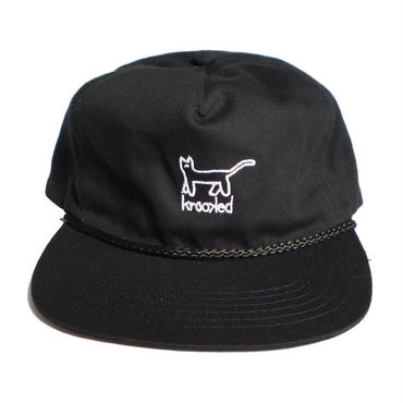 KROOKED KAT EMBROIDERED SNAPBACK CAP BLACK
