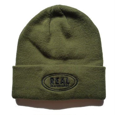 REAL OVAL EMBROIDERY CUFF BEANIE