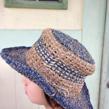 アフガン編みのヘンプコットンハット ミックスカラー